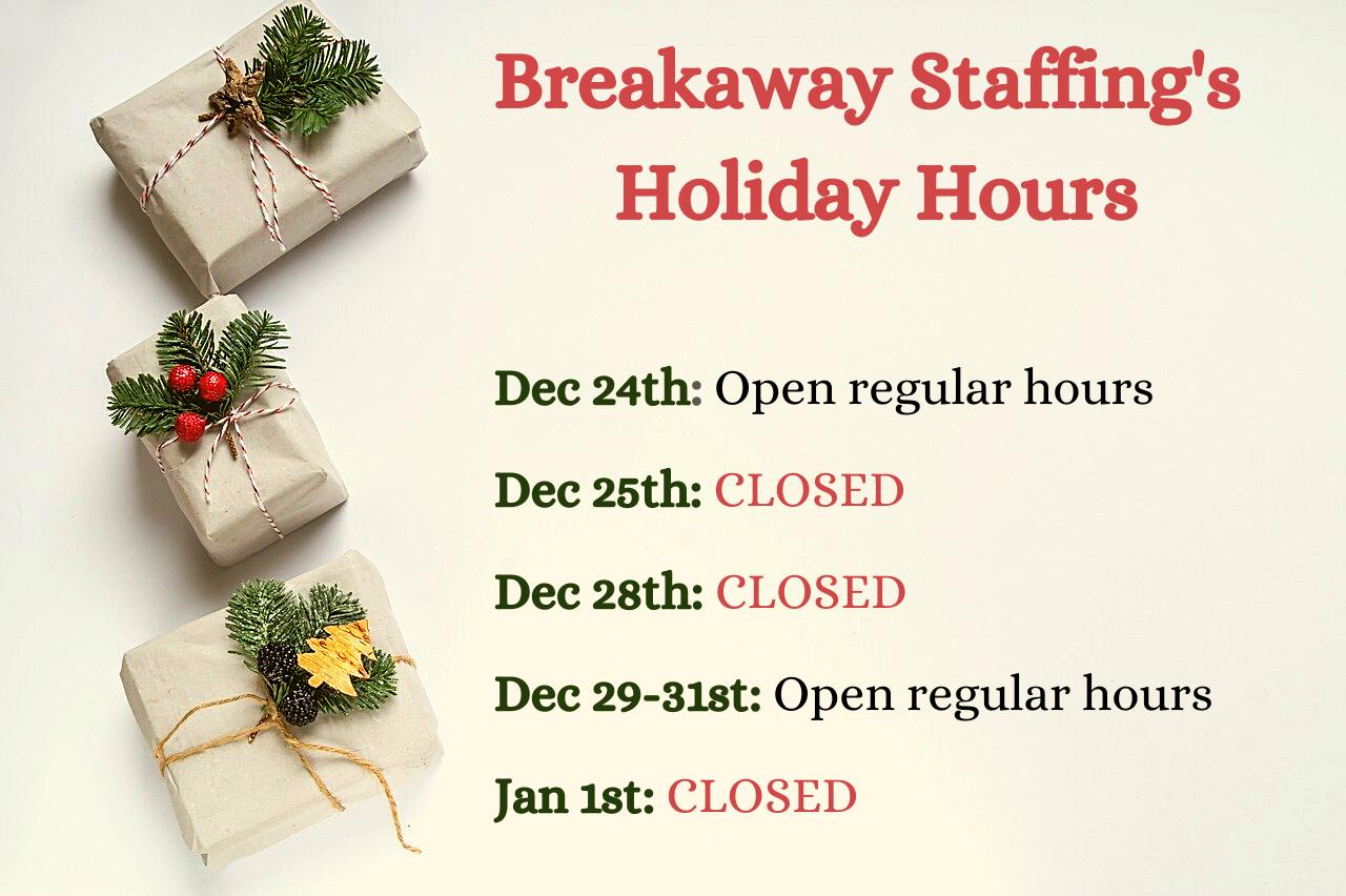 Holiday hours list Dec 24-Jan 1